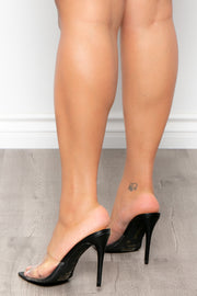 Gunfire Vinyl Vamp Stilettos - Black