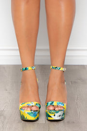 Midori Sour Tropical Print Wedges - Yellow