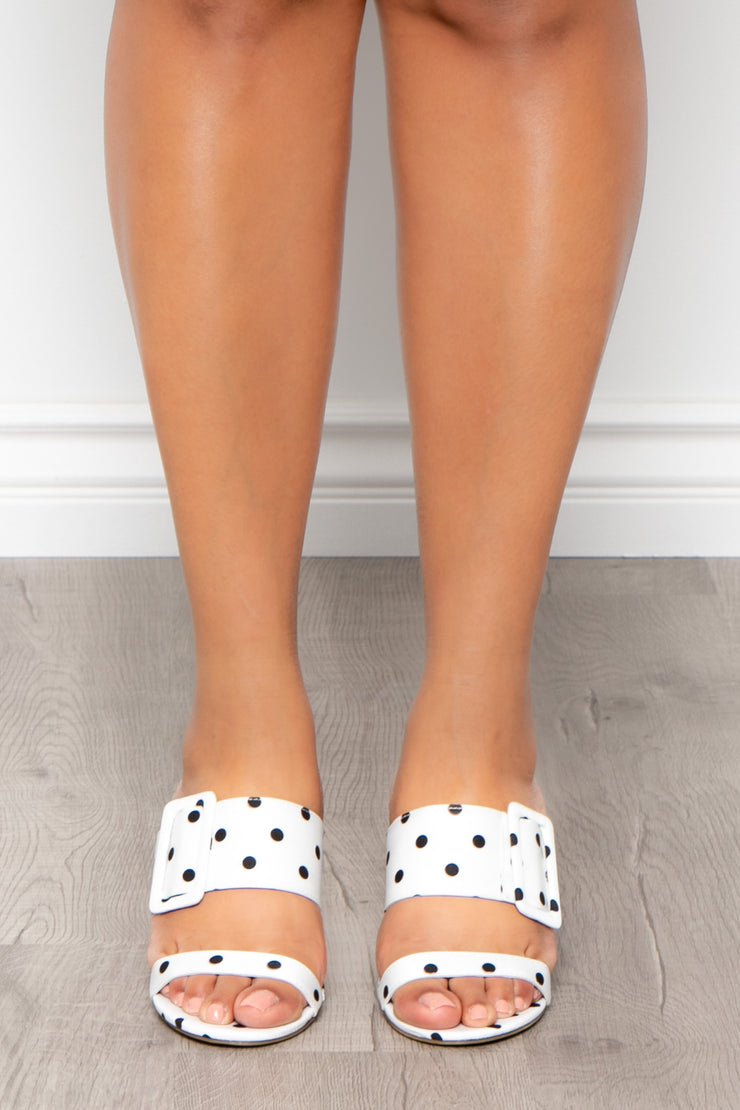 Gimlet Polka Dot Buckle Mules - White