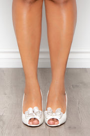 Blanc De Blancs Satin Peep-Toe Pumps - Ivory