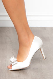 Curvy Sense -Plus_Size_Womens- Blanc De Blancs Satin Peep-Toe Pumps - Ivory