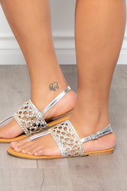 Curvy Sense -Plus_Size_Womens- Ouzini Woven Sandals - Gold/Silver