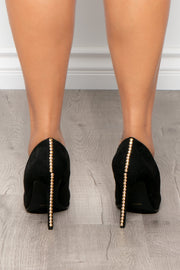 Martini Studded Faux Suede Pumps - Black