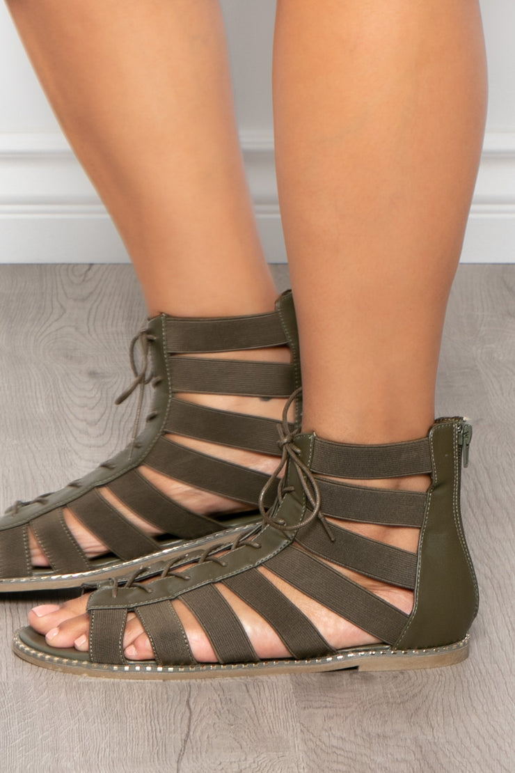Curvy Sense -Plus_Size_Womens- Gin & Tonic Lace Up Gladiator Sandals - Olive