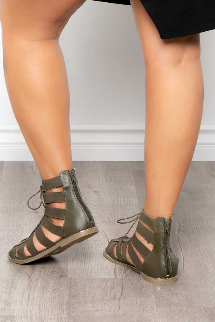 Gin & Tonic Lace Up Gladiator Sandals - Olive