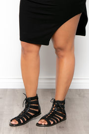 Curvy Sense -Plus_Size_Womens- Gin & Tonic Lace Up Gladiator Sandals - Black