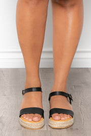 Mimosa Espadrille Sandals - Black