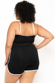 Plus Size Retro Dolphin Hem Romper - Black