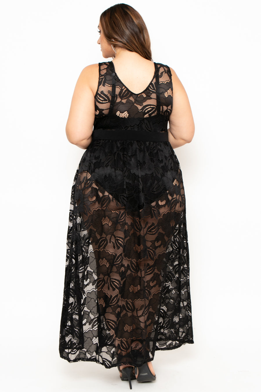 Plus Size Alexandra Lace Maxi Dress - Black