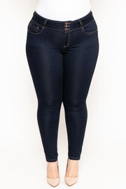 Plus Size 3-Button Push Up Skinny Jean - Dark Wash