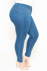 Plus Size 3-Button Push Up Skinny Jean - Medium Wash