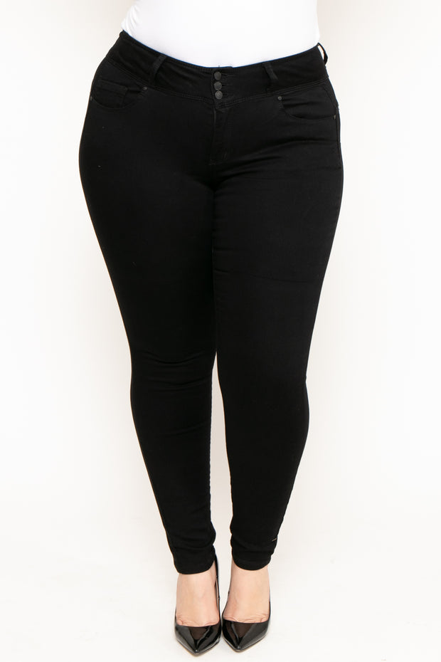 Plus Size 3-Button Push Up Skinny Jean - Black