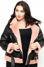 Plus Size  Fur-Lined Faux Leather Jacket - Black/Pink