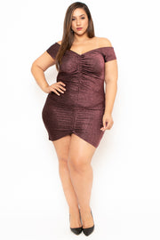 Plus Size Aphrodite Metallic Ruched Mini Dress - Pink