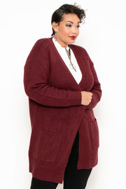 Plus Size Brushed Ribbed Knit Sweater-Cardigan - Burgundy