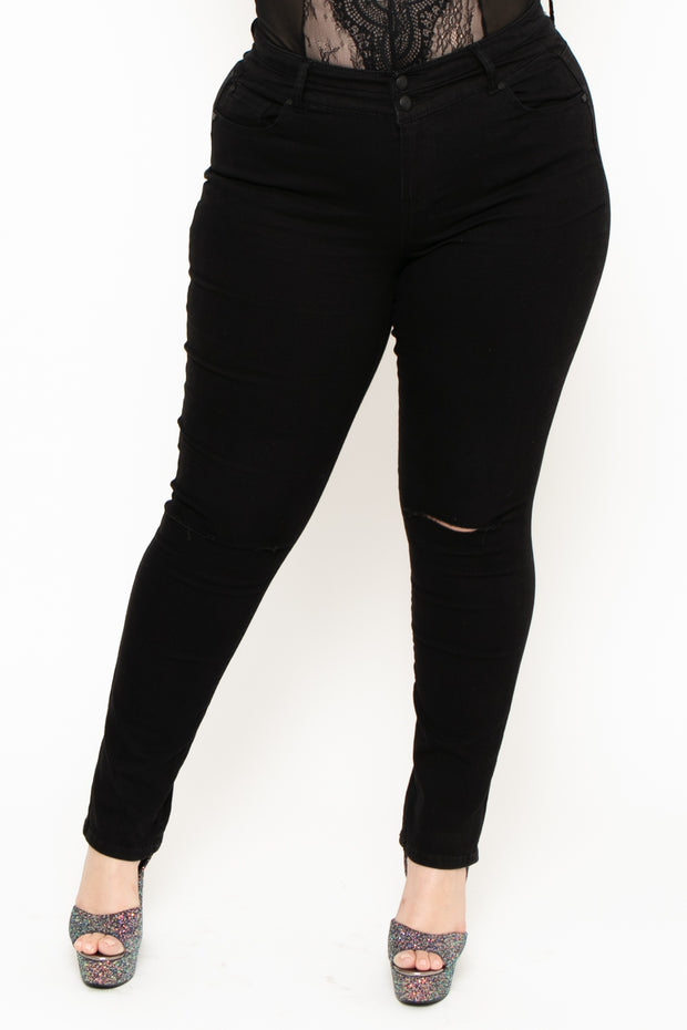 Plus Size 2-Button Knee Slit Jean - Black