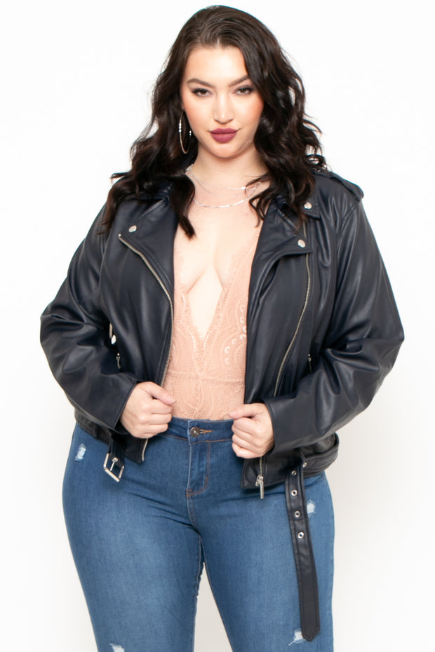 Plus Size Aviana Faux Leather Moto Jacket - Navy