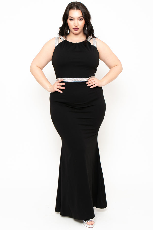 Plus Size Audrey Rhinestone Gown - Black