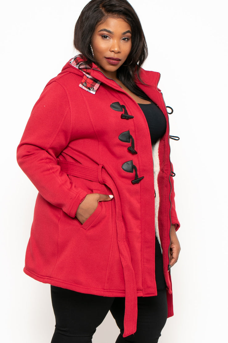 Plus Size Layla Hooded Fleece Coat - Red