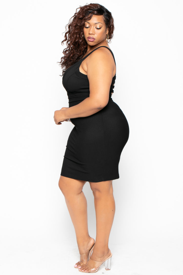 Plus Size Adalyn Caged Dress - Black