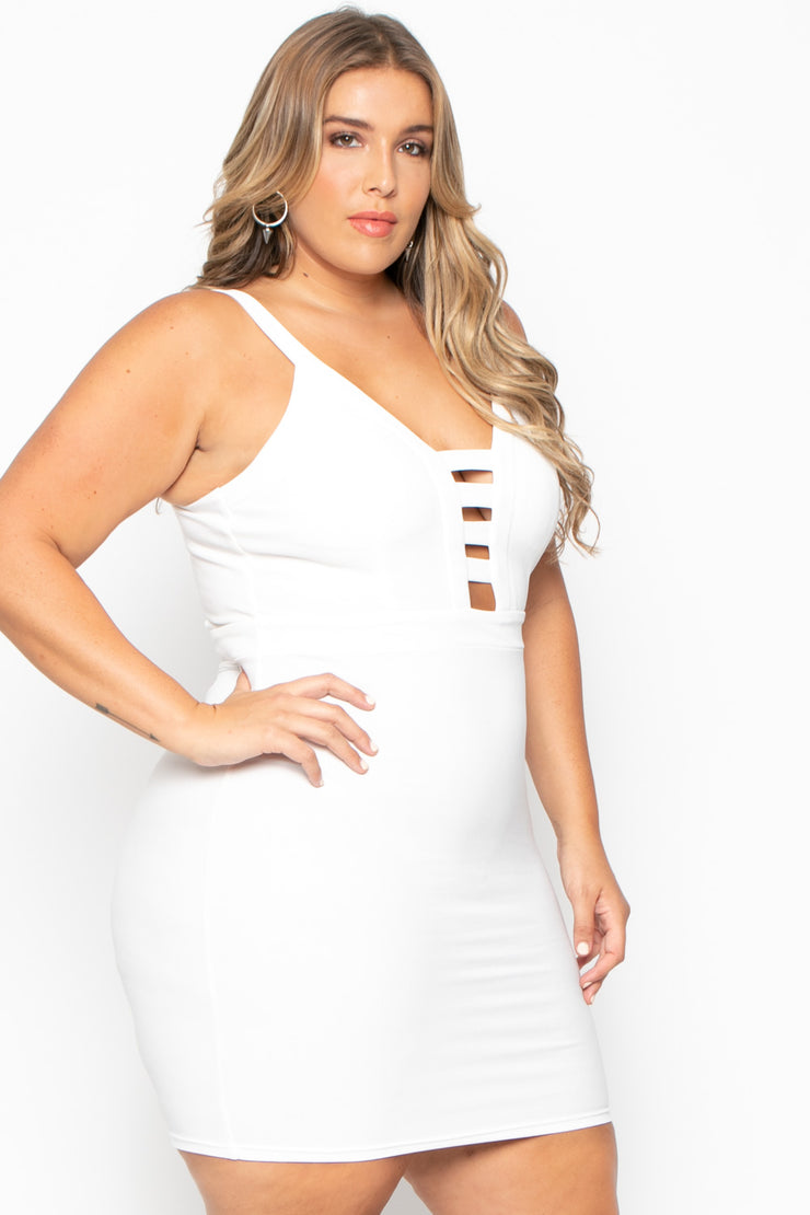 Plus Size Adalyn Caged Dress - White