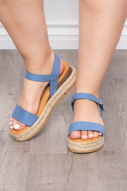 Curvy Sense -Plus_Size_Womens- Mimosa Denim Espadrille Sandals - Blue