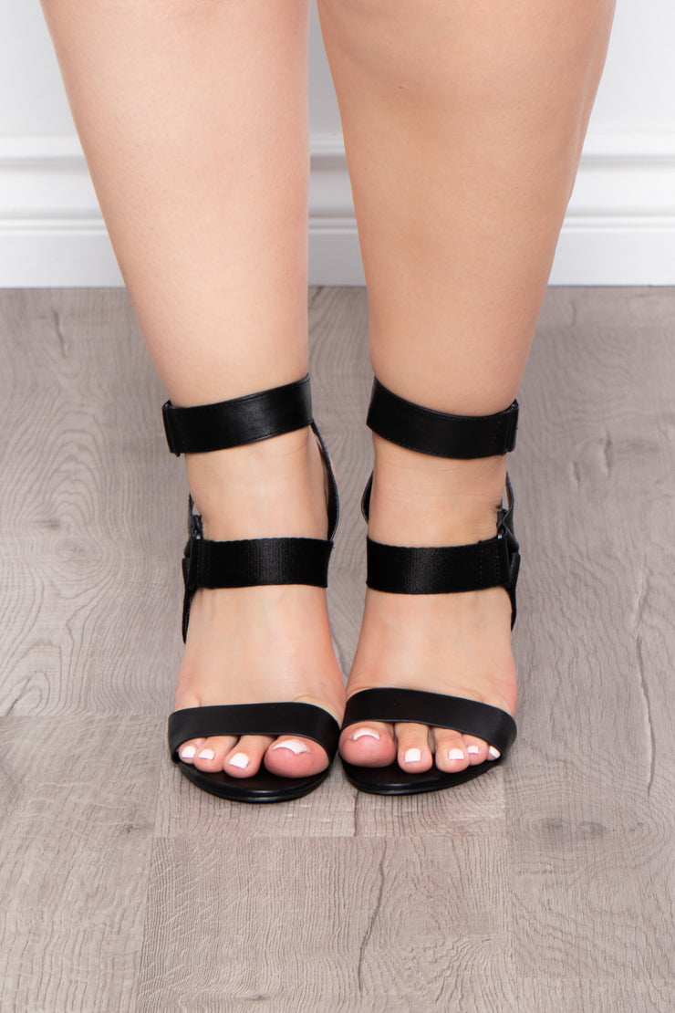 Cuban Sunset Strappy Stilettos - Black