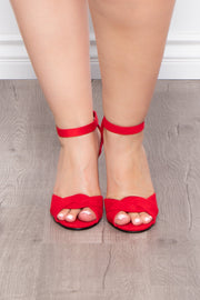 Curvy Sense -Plus_Size_Womens- Bay Breeze Twisted Heels - Red