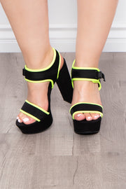 Brandy Sour Buckle Platform Heels - Neon Lime