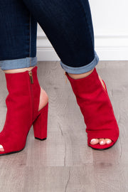 Long Island Cut Out Booties - Red