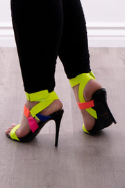 Cuban Sunset Strappy Stilettos - Neon Yellow