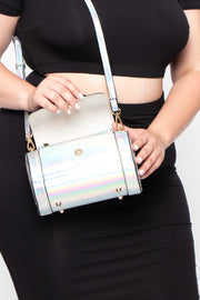 Cancun Iridescent Cylinder Crossbody - Silver