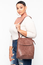 Berlin Faux Leather Convertible Backpack - Brown