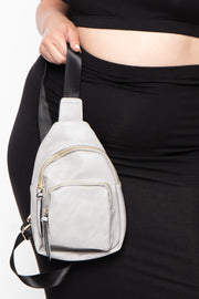 Lima Faux Leather Crossbody - Grey