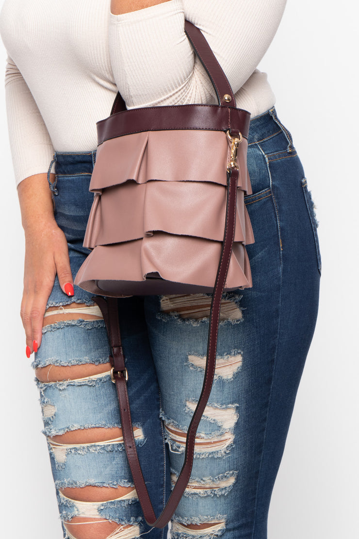 Amsterdam Faux Leather Frill Bucket Bag - Mauve