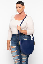 Melbourne Faux Leather Crescent Bag - Navy