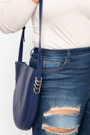 Curvy Sense -Plus_Size_Womens- Melbourne Faux Leather Crescent Bag - Navy