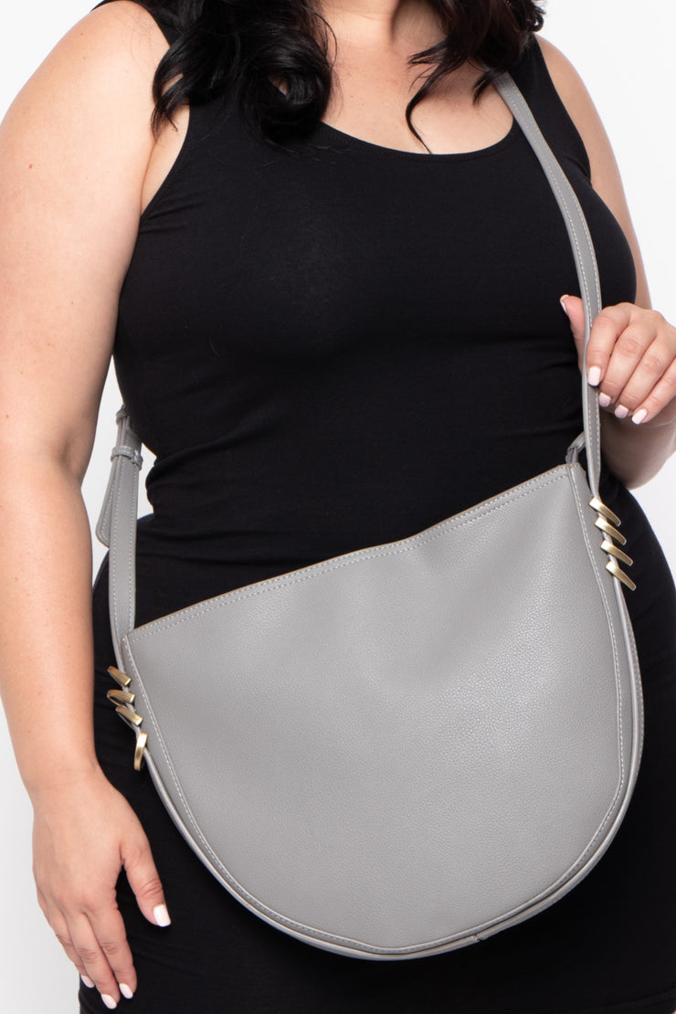 Melbourne Faux Leather Crescent Bag - Grey