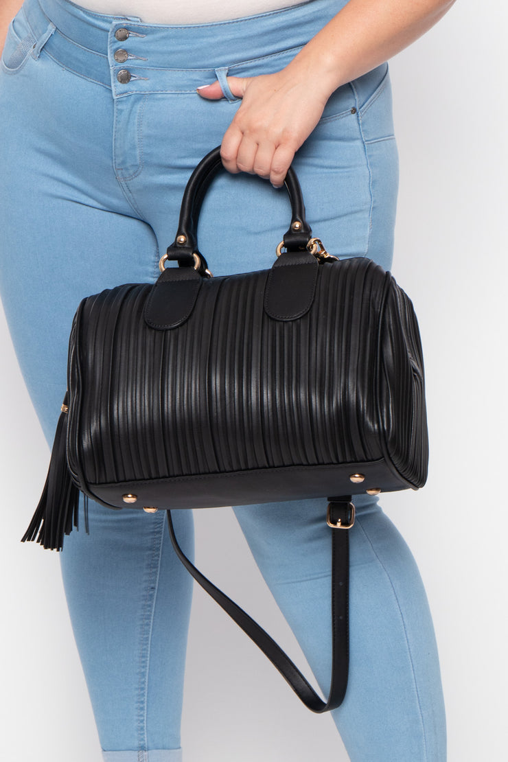 London Pleated Faux Leather Duffle Handbag - Black