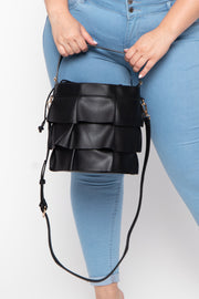 Amsterdam Faux Leather Frill Bucket Bag - Black