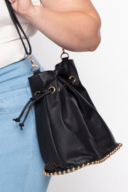 Moscow Braided Faux Leather Bucket Bag - Black