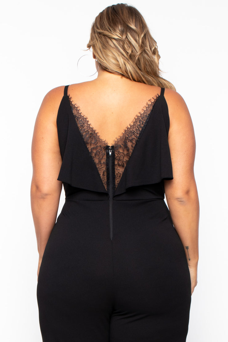 Plus Size Alizae Wide Leg Jumpsuit - Black