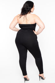 Curvy Sense -Plus_Size_Womens- Plus Size Adria Lace Up Jumpsuit - Black