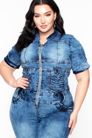 Plus Size Acid Wash Denim Jumpsuit - Medium Wash