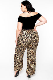 Plus Size  Leopard Palazzo Pants - Taupe
