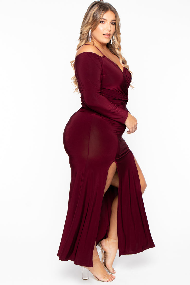 Plus Size Adele M-Slit Maxi Dress - Burgundy