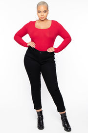 Curvy Sense -Plus_Size_Womens- Plus Size Long Sleeve Ribbed Bodysuit - Red