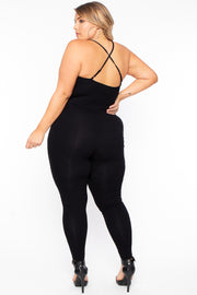 Curvy Sense -Plus_Size_Womens- Plus Size Destroyed Catsuit Jumpsuit - Black