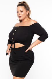 Plus Size Amina Off The Shoulder Dress - Black