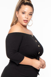 Curvy Sense -Plus_Size_Womens- Plus Size Amina Off The Shoulder Dress - Black